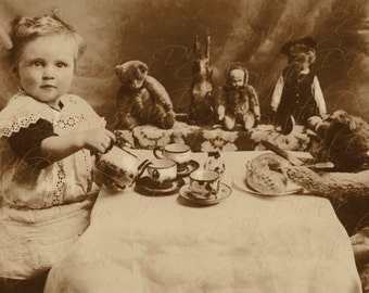 Baby's First Tea Party, beautiful tea set, Steiff Teddy, bunny - 1910-1920 Instant Digital Download, Photo Scan PS022