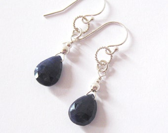Midnight Blue Sapphire Gemstone Earrings, Sterling Silver, Sapphire Teardrop Pear Briolettes