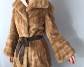 Vintage Faux Fur Coat - Grandella - Size Small c. 1970s