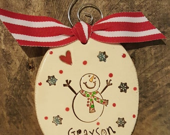 Snowman personalized ornament, custom ceramic ornament, personalized pottery ornament, snowman, baby's first christmas, 1st christmas,