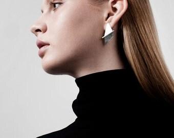SALE 50% OFF Ellen Earrings, Silver Post Earrings, Geometric Silver Earrings, Minimalist Silver Earrings, Silver Statement Earrings