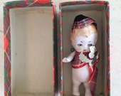 Antique German Tiny Bisque Miniature Boy Doll with Hat Scottish with Box