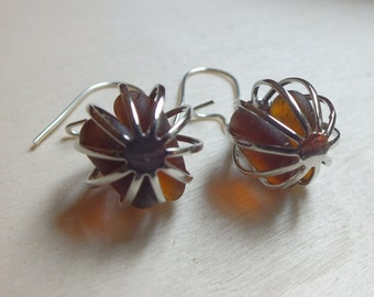 Scottish Sea Glass Earrings, Amber, Handmade Gift from Scotland, Cage Charms, Kidney Wires