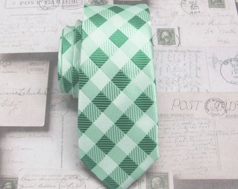 Mens Ties Green Ivory Checkers Skinny Necktie