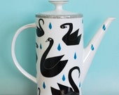 SUMMER SALE! Very large teapot black swans and raindrops