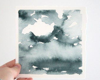 """Haze Over the Lake, Original Abstract Waterscape Painting, Watercolour, Indigo Blue, 5"""" X  5"""""""