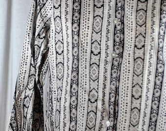 Vintage Mid Century Ladies Black and White Button-up Blouse - 100% Cotton Women's Top