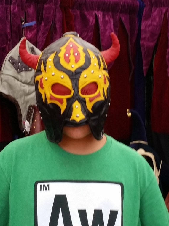Leather Head Wrestler Mask Fire Spirit with Red Devil Horns and Pony Tail