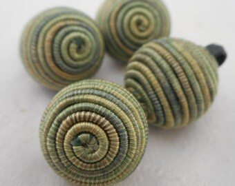 Set of 4 VINTAGE Green Cord Fabric Round Ball BUTTONS