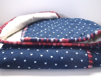 Tiny Hearts Baby Quilt | Simple Navy Blue Quilt | Baby Girl Plaid and Ivory Flannel