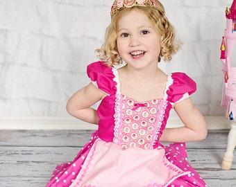 Sleeping Beauty dress Princess costume Apron dress from Lover Dovers girls Halloween Sleeping Beauty costume Aurora dress