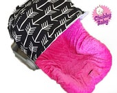 Infant Car Seat Cover, Baby Car Seat Cover in Aztec Tribal Arrow with hot pink minky