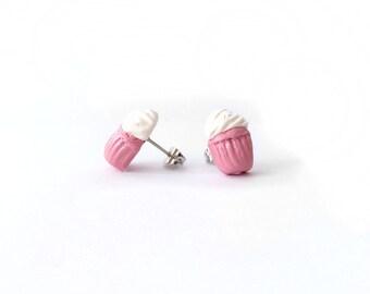 Pink Cupcake Post Earrings