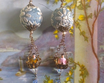 Lilygrace Blue Vintage Hot Air Balloon Earrings with Brass Filigree, Embroidered Silk, Glass Flowers and Vintage  Beads