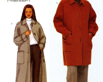 Butterick 3336 Designer Ellen Tracy Easy Loose Fitting A Line Coat Jacket Size 14 16 18 Uncut Sewing Pattern 2001