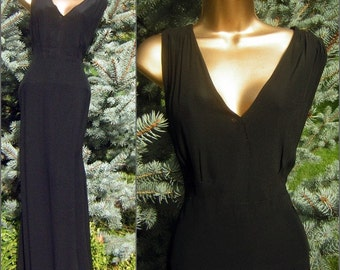 """20s 30s Black Gown Evening Cocktail Dress Long Charmeuse Backed Draped Fit Dangerously Sexy BUST 42"""""""