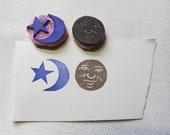 Sun, Moon, & Star Stamp Set // Handmade Rubber Stamp Set