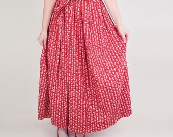 "50s NOS Red and White Flower Cotton Long Full Skirt with Belt - 27"" waist"