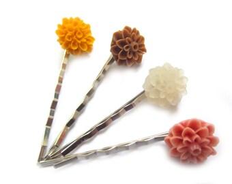 Fall Bobby Pins Fall Hair Pins Fall Hair Accessory Autumn Bobby Pins Autumn Hair Pins Yellow Hair Clips Brown Hair Clips Rose Hair Clips