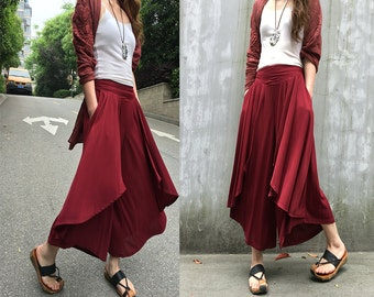 Moon Water - pleated skirt pants / asymmetrical wide leg pants / boho yoga pants / drop yoke waist pants / designer layering pants (K1661)