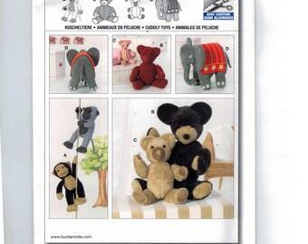 Craft Sewing Pattern Burda 7904 Stuffed Animal Magnetic Paw Monkey Teddy Bear Elephant Circus Animals Toy Doll UNCUT