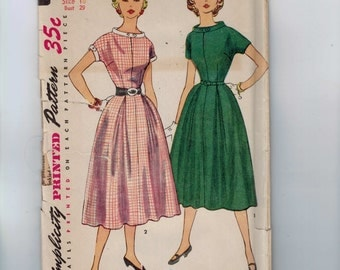 1950s Vintage Sewing Pattern Simplicity 4583 Juniors Full Skirted Dress with Button Collar and Cuffs Size 11 Bust 29 50s UNCUT