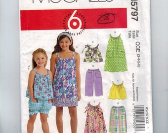 Kids Sewing Pattern McCalls M5797 5797 Girls Pillowcase Top Dress Pants Summer Sleeveless Size 3 4 5 6 Breast 22 23 24 25 UNCUT  99