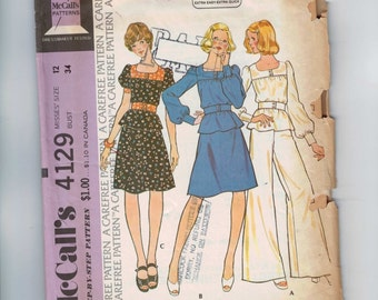 1970s Vintage Sewing Pattern McCalls 4129 Misses Top Skirt Pants Wide Leg Size 12 Bust 34 1974 70s