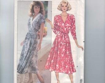 1980s Vintage Sewing Pattern Butterick 4055 Misses Wrap Dress V Vee Neck Easy Long Size 12 14 16 Bust 34 36 38 UNCUT 1989 80s
