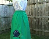 Retro Kitsch Green Skirt With Frog Applique