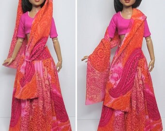 """STRAIGHTFORWARD SEWING Pattern SSP-034: """"Bollywood Style"""" All fully lined, skirt, top, and shawl, for Ellowyne Wilde & friends"""