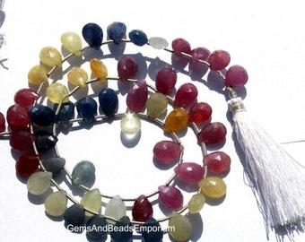 55% OFF SALE 1/4 Strand Natural Multi Sapphire Micro Faceted Pear Briolette Size 8x6mm - 10x6mm Precious Stone Beads