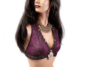 Halter, B or C Cup, Purple, Gold, Black, Kuchi Coins, Bellydance, Costume, Tribal, Fusion, Sequins, Hoop, Circus, Carnival, Bra