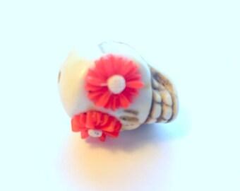 Gigantic Ivory Howlite Skull Bead or Pendant  with Red Daisy Eyes