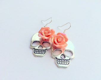 Extra Large Day of the Dead Orange Roses and Sugar Skull Earrings