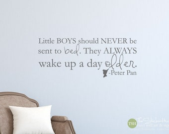 Little Boys Should Never Be Sent To Bed Peter Pan Quote Sticky - Nursery Bedroom Decor - Vinyl Wall Accent Art Words Stickers Decals 1886