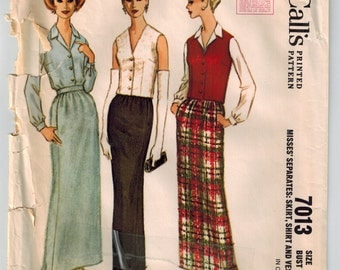 Vintage 1960s Skirt Shirt Vest Misses Separates Sewing Pattern 3 Gore Skirt Single Breasted Vest Button Shirt McCalls 7013 Size 14 Bust 34