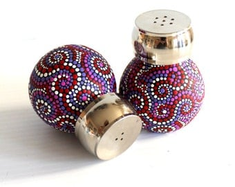 Hand painted Glass Orbit salt and Pepper Shaker set Red and purple dotted Salt and Pepper Shakers