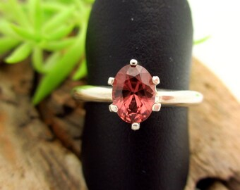 Rhodolite Garnet Ring in Sterling Silver, Peachy-Pink Gemstone - Free Gift Wrapping