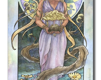 Art Print Lady of April and Trees Nature Bonsai Goddess with Daisies Birthstone and Birthflower Mucha Inspired Art Nouveau Painting