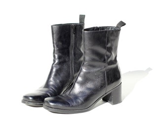 Size 7 Black Leather Chunky heel Ankle Boots