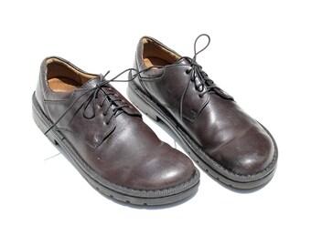 Men's Dark Brown Leather Oxford / Birkenstock Shoes / size 10.5