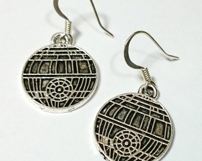 Death Star Star Wars Silver Dangle Earrings