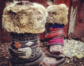 Customized Fair Isle Jet Set MUK LUKS Boot Outfit, Mongolian Faux Fur Cuffs, Boot Belts ~ Made To Order