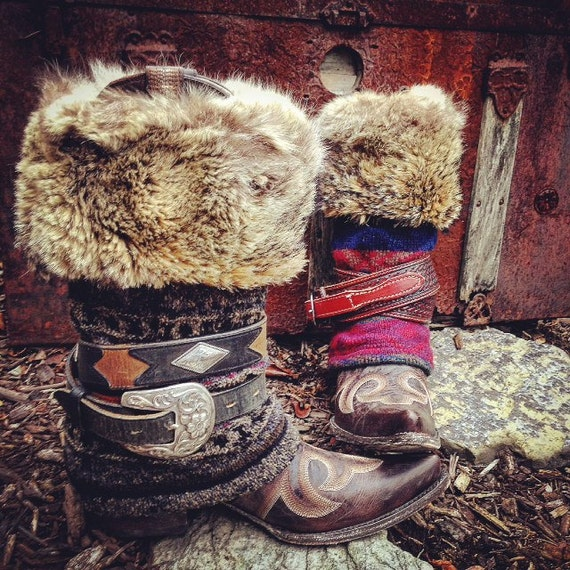 Custom Upcycled Fair Isle Jet Set MUK LUKS Tall Boot Outfit ~ Send me your favorite tall boots to decorate  ~ Made To Order