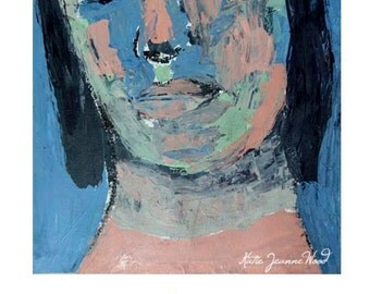 Woman Portrait Expressionism Painting Print. Home Wall Art Prints. Gift for Her Home. Apartment Decor. Portrait Art Print.