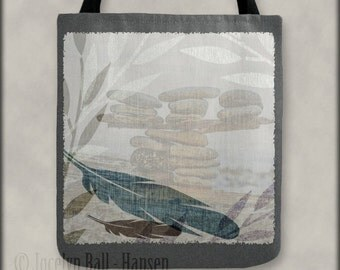 Feather Leaves and Rocks Beach Zen Tote Bag