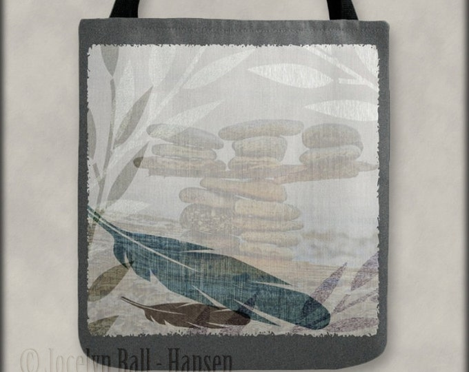 Featured listing image: Feather Leaves and Rocks Beach Zen Tote Bag