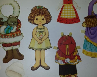 Little Girl with Curly Hair 11 Piece Paper Doll Set