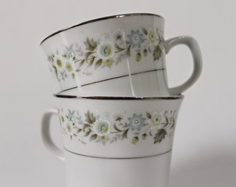 Gorgeous 1960s Silver Trimmed Lime and Cornflower Footed Cup